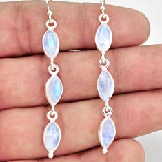 12.35cts natural rainbow moonstone 925 sterling silver dangle earrings r37773