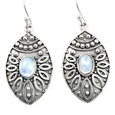 3.13cts natural rainbow moonstone 925 sterling silver dangle earrings r38058