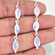 13.60cts natural rainbow moonstone 925 sterling silver dangle earrings r38116