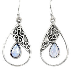 4.92cts natural rainbow moonstone 925 sterling silver dangle earrings r38137