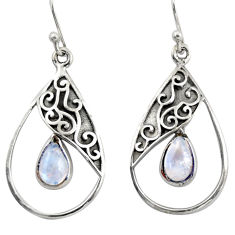 4.47cts natural rainbow moonstone 925 sterling silver dangle earrings r38138