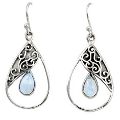 4.48cts natural rainbow moonstone 925 sterling silver dangle earrings r38140