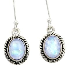 4.54cts natural rainbow moonstone 925 sterling silver dangle earrings r41115