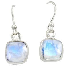 4.63cts natural rainbow moonstone 925 sterling silver dangle earrings r41116