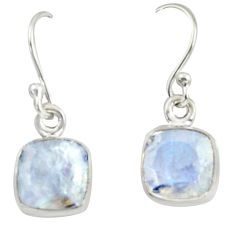 4.59cts natural rainbow moonstone 925 sterling silver dangle earrings r41117