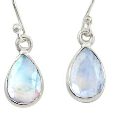 4.28cts natural rainbow moonstone 925 sterling silver dangle earrings r41118