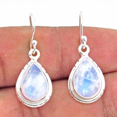 7.67cts natural rainbow moonstone 925 sterling silver dangle earrings r41169