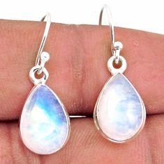 7.39cts natural rainbow moonstone 925 sterling silver dangle earrings r41170