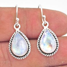 8.49cts natural rainbow moonstone 925 sterling silver dangle earrings r41174