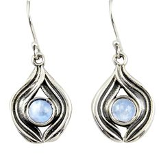 2.36cts natural rainbow moonstone 925 sterling silver dangle earrings r42073