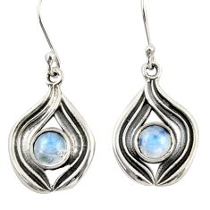 2.28cts natural rainbow moonstone 925 sterling silver dangle earrings r42075
