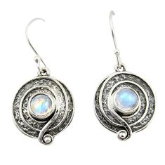 2.19cts natural rainbow moonstone 925 sterling silver dangle earrings r42076