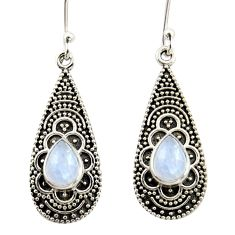 3.74cts natural rainbow moonstone 925 sterling silver dangle earrings r42077