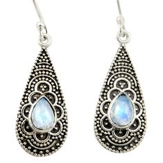 3.75cts natural rainbow moonstone 925 sterling silver dangle earrings r42078