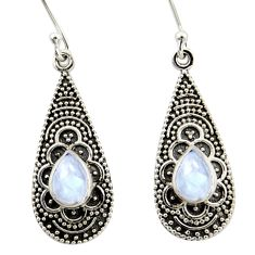 3.72cts natural rainbow moonstone 925 sterling silver dangle earrings r42079