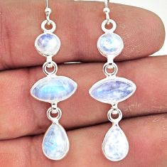12.10cts natural rainbow moonstone 925 sterling silver dangle earrings r42271