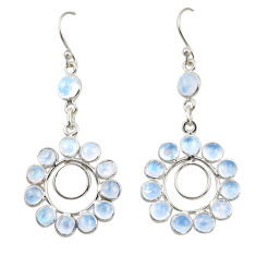 11.18cts natural rainbow moonstone 925 sterling silver dangle earrings r42300