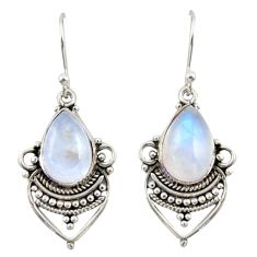 8.11cts natural rainbow moonstone 925 sterling silver dangle earrings r42320