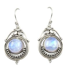 8.59cts natural rainbow moonstone 925 sterling silver dangle earrings r42338
