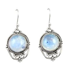 8.57cts natural rainbow moonstone 925 sterling silver dangle earrings r42339