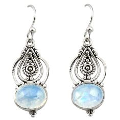 7.73cts natural rainbow moonstone 925 sterling silver dangle earrings r42397