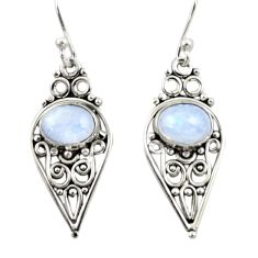 4.04cts natural rainbow moonstone 925 sterling silver dangle earrings r42398