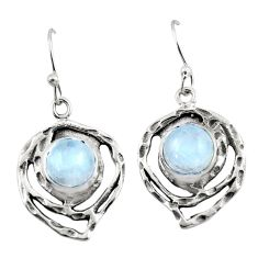 6.41cts natural rainbow moonstone 925 sterling silver dangle earrings r42875