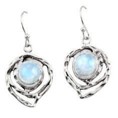 6.23cts natural rainbow moonstone 925 sterling silver dangle earrings r42876