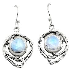 6.19cts natural rainbow moonstone 925 sterling silver dangle earrings r42877