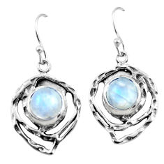6.53cts natural rainbow moonstone 925 sterling silver dangle earrings r42878