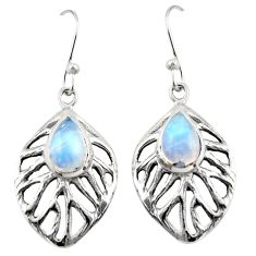 4.55cts natural rainbow moonstone 925 sterling silver dangle earrings r42893