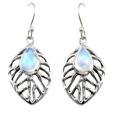 4.56cts natural rainbow moonstone 925 sterling silver dangle earrings r42894