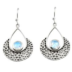 1.92cts natural rainbow moonstone 925 sterling silver dangle earrings r42895