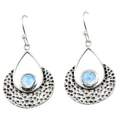 1.76cts natural rainbow moonstone 925 sterling silver dangle earrings r42896