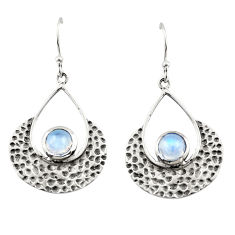 1.96cts natural rainbow moonstone 925 sterling silver dangle earrings r42899