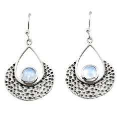1.88cts natural rainbow moonstone 925 sterling silver dangle earrings r42900