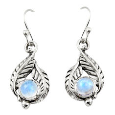 2.02cts natural rainbow moonstone 925 sterling silver dangle earrings r42916