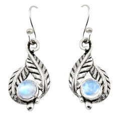 1.90cts natural rainbow moonstone 925 sterling silver dangle earrings r42917