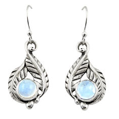 1.90cts natural rainbow moonstone 925 sterling silver dangle earrings r42919
