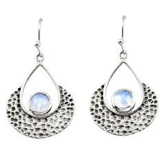 1.88cts natural rainbow moonstone 925 sterling silver dangle earrings r42939