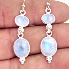 12.15cts natural rainbow moonstone 925 sterling silver dangle earrings r44976