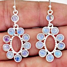 8.12cts natural rainbow moonstone 925 sterling silver dangle earrings r45074