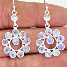 9.31cts natural rainbow moonstone 925 sterling silver dangle earrings r45115