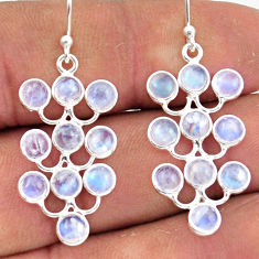 9.15cts natural rainbow moonstone 925 sterling silver dangle earrings r45116