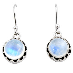 5.28cts natural rainbow moonstone 925 sterling silver dangle earrings r53022