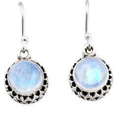 4.92cts natural rainbow moonstone 925 sterling silver dangle earrings r53030