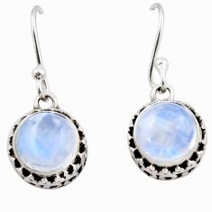 5.63cts natural rainbow moonstone 925 sterling silver dangle earrings r53032
