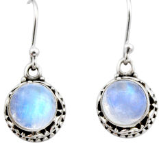 5.13cts natural rainbow moonstone 925 sterling silver dangle earrings r53040