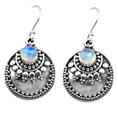 1.69cts natural rainbow moonstone 925 sterling silver dangle earrings r54038