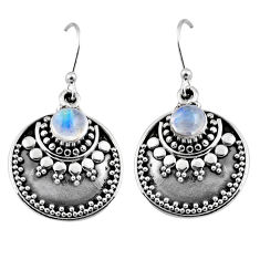 1.62cts natural rainbow moonstone 925 sterling silver dangle earrings r54039
